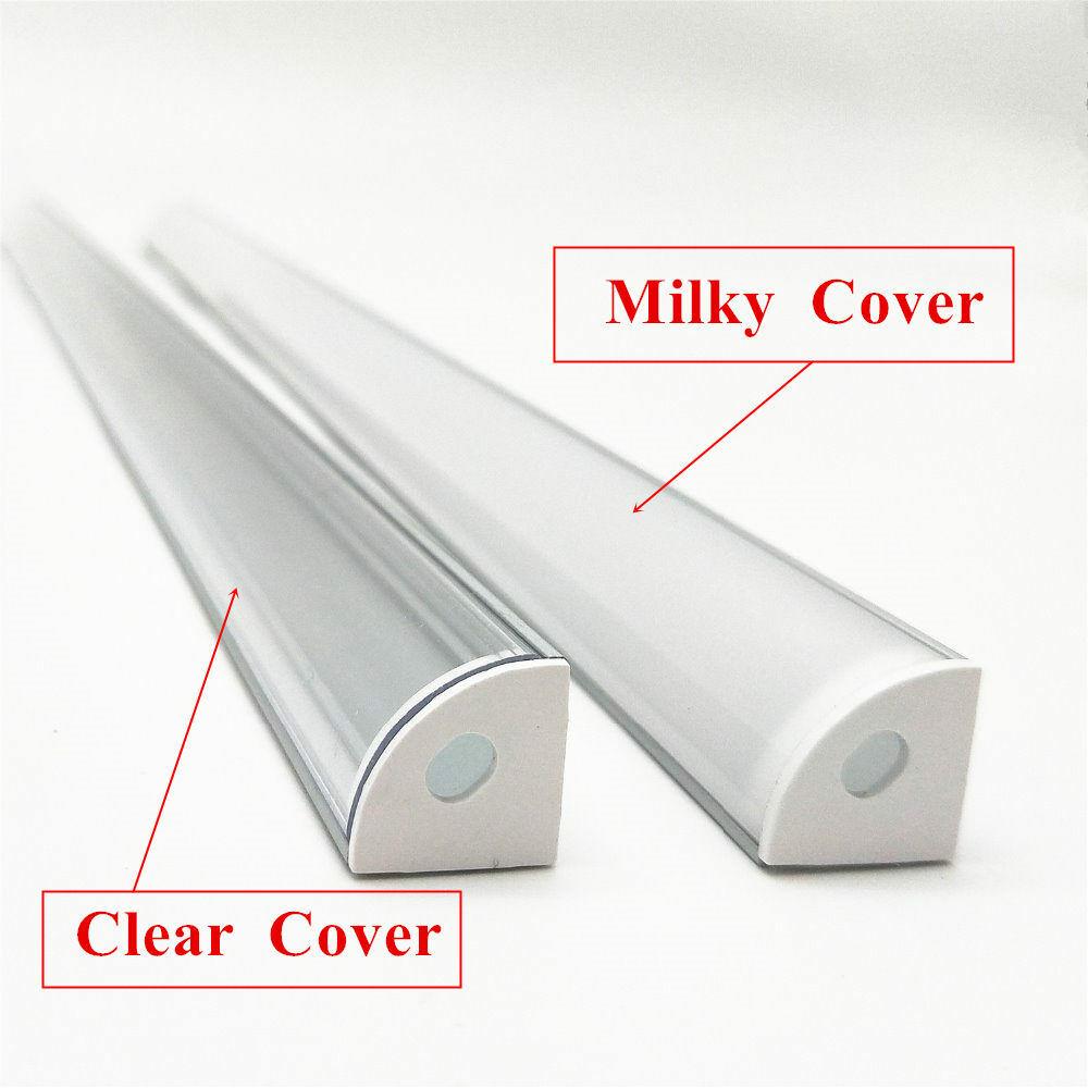 Armario de esquina V-aluminio Shell lechoso casquete cubierta transparente para Tira de Luz LED  4