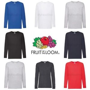 Fruit-of-the-loom-Garcons-Filles-a-manches-longues-Valueweight-T-Shirt