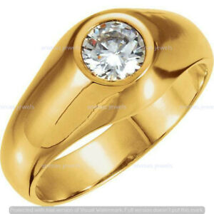 Details about  /2 CT Brilliant Cut Round Diamond Men/'s Engagement Ring in 14K White Gold Finish