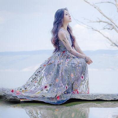 Vintage Elegant Sweet Lolita Mori Girl Embroidery Tulle Slim Fairy Goddess Dress