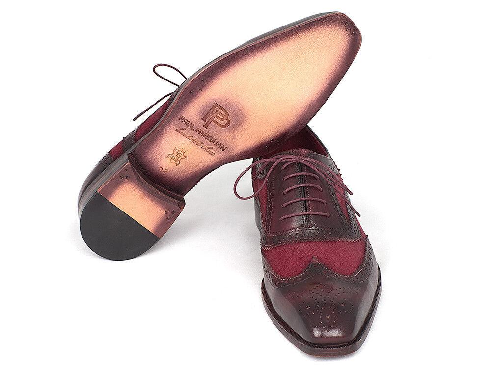 Paul Parkman Suede Suede Suede & Calfskin Men's Wingtip Oxfords Bordeaux (ID 228BRDSD) c2e3d4