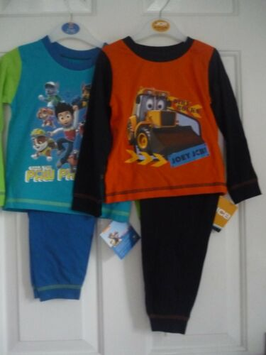 Boys Pyjamas long sleeve//legs Paw Petrol or JCB Joey 12 mths to 4 yrs
