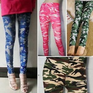 Military Camouflage Army Green Print Full Length Legging Ladies Tight Trousers