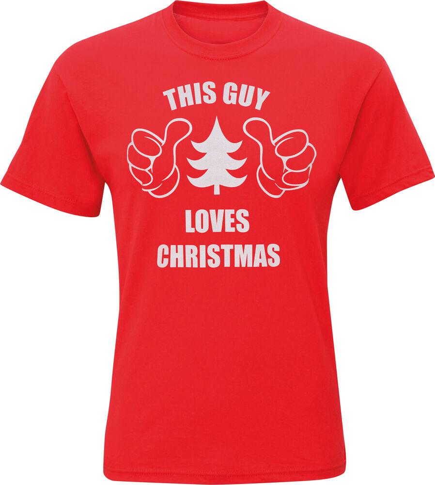 """Adaptable Men's Funny """"ce Gars Aime Noël's à Manches Courtes En Coton Rouge Tee Shirt Un Style Actuel"""