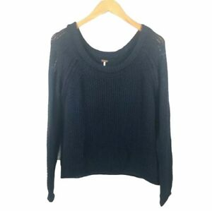 Free People Womens Crop Sweater Size Small Crochet Knit Blue Cotton Crew neck