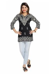 Indian-Pakistani-Designer-Top-3-4-Sleeves-Printed-Kurta-Kurti-Women-MI518-BLACK