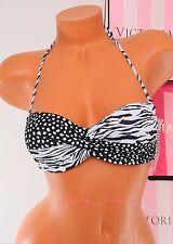 VS VICTORIA'S SECRET Swim Knockout Bandeau Underwire Bikini Top 34B Black White