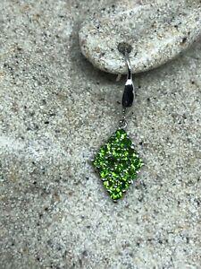 Vintage-Green-Earrings-Genuine-Chrome-Diopside-925-Sterling-Silver
