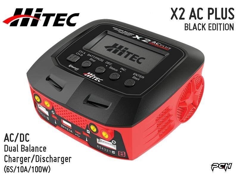 Edición negro HITEC X2 AC PLUS AC DC cargador de equilibrio de múltiples (6S 10A 100W) 44270