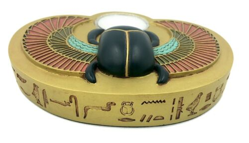 Egyptian Tea Light Candleholder Scarab with Wings Renewal Symbol Color Gold 6W