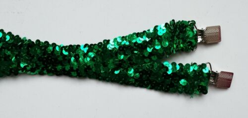 New Without Tags Green Sparkling 7 Row Sequin Stretch Suspenders