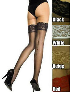 1995c68a77a08e Lace Top Back Seam Sheer Nylon Thigh High Stockings Plus Size OS ...