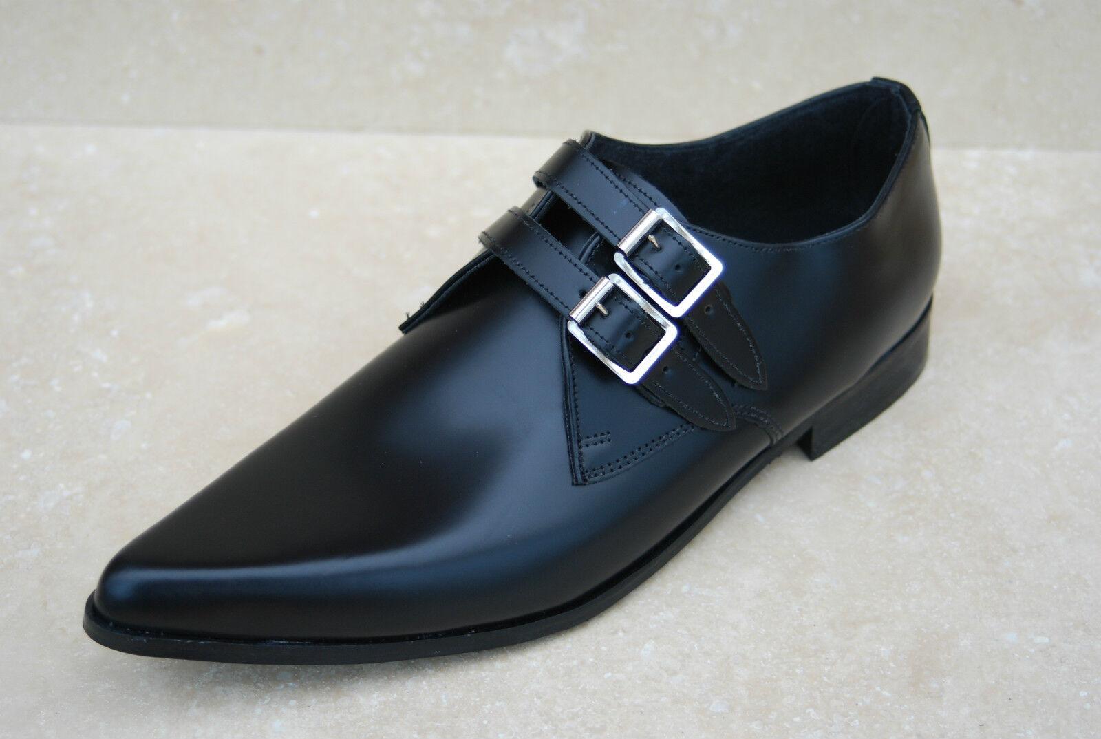 NEU Herren 2 Riemen schwarzes Leder Retro WINKLE Sole WINKLE Retro PICKER Schuhe c0a68c