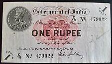 Billete de la India británica 1 rupia Gubbay 1917 Rey George V circularon Muy Fino