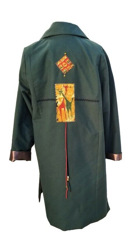 SOLVEIG LADIES LONG NON FITTED COAT  WITH SLITS ON THE SIDE GREENRUST