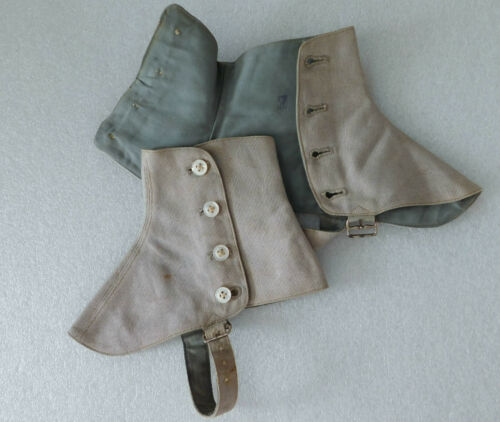 Vintage spats gaiters Grey-brown cotton pique Size 7 Edwardian 1910s 1920s