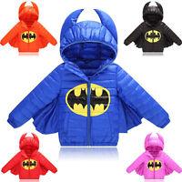 Winter coat Baby Kids Girls Boys Warm Outerwear Batman Down Jacket Snowsuit Suit