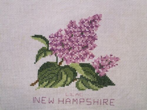 Completed Cross Stitch 11x11 Blocks United States STATE FLOWERS U Choose N-Z