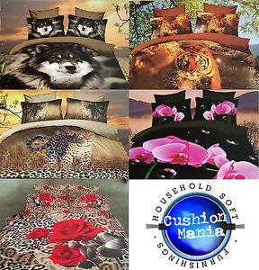 3D-Duvet-set-King-double-Size-3PCS-Bedding-Animal-Floral-Rose-125-Gsm-Quality