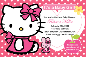 Details About Sanrio Hello Kitty Custom Birthday Party Baby Shower Digital Invitation Print