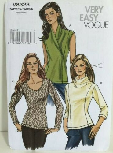 OOP VOGUE V8323 PULLOVER KNITS TOP TUNIC COWL //SCOOP COLLAR SEW PATTERN SZ 8-22