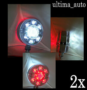 2x-Chrome-Red-White-LED-Side-Marker-Mirror-Lights-Truck-Trailer-Lorry-Lkw-12-24V