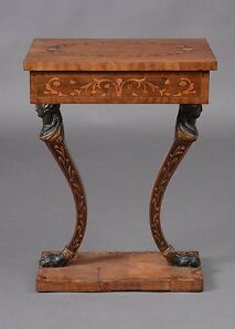 Austrian neoclassical walnut and fruitwood marquetry side table