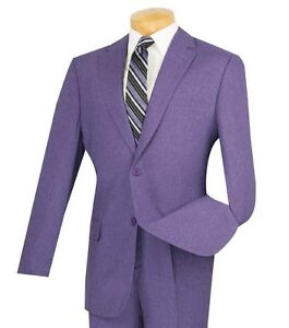 Men's Purple Textured Weave 2 Button Classic Fit Polyester Suit NEW
