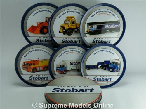 World of Eddie Stobart drink coasters Tin Set de 6 train camion Digger SCANIA Z0