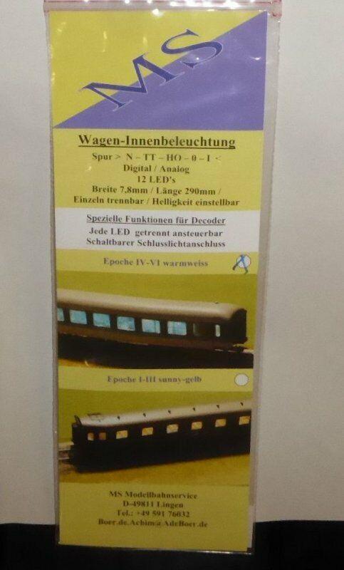 Ms Modellbahnservice Boer Tt, N, H0 LED Interni Bianco, 290 mm Nuovo in Conf
