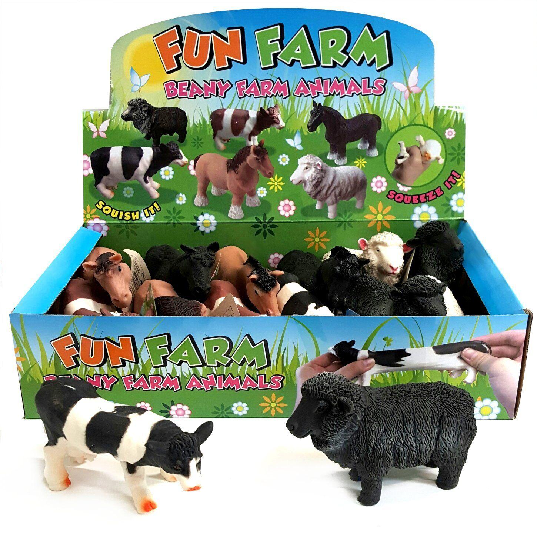 Box of 12 Stretchy Squishy Farm Animal Toys - Fidget Stress Sensory Toy Autism