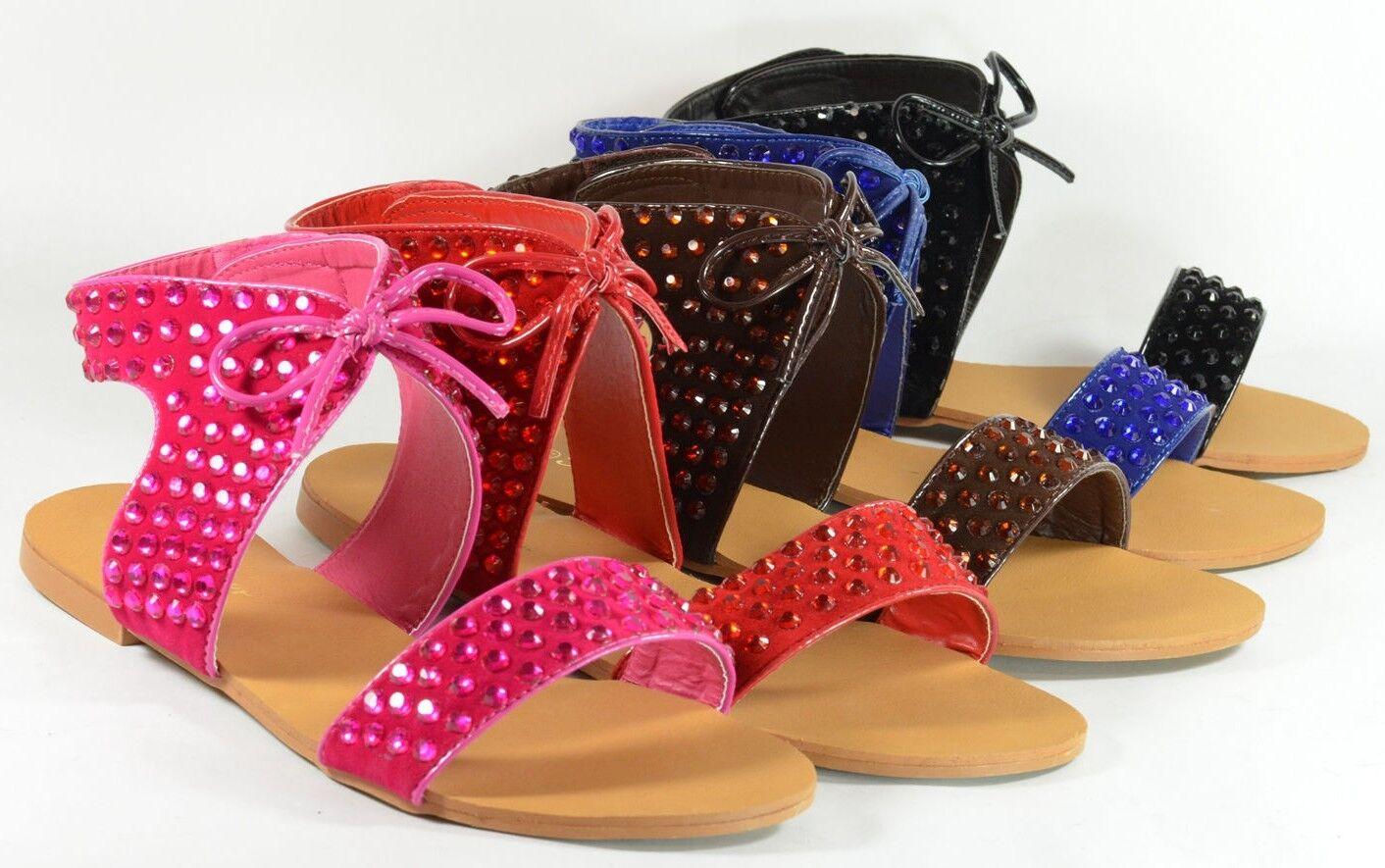 Mujer Sandalias Nuevo Diseño Lentejuelas Al Match Color Estrás Planas Al Lentejuelas Tobillo 514268