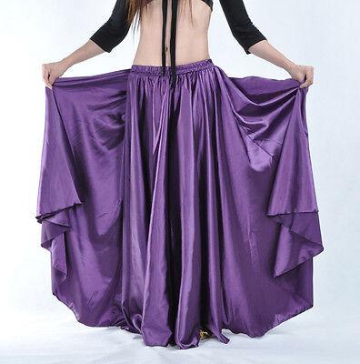 New Belly Dance Costumes Satin Long Skirt Full Circle Swing Skirt Dress 14 Color