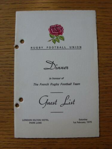01021975 Rugby Union The Rugby Football Union, Dinner In The Honour Of The Fr