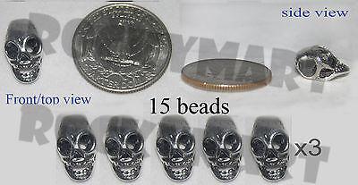 *A* Skull Head Bead Metal Charm Tibetan Silver Great Bracelet Craft Piece RM1093