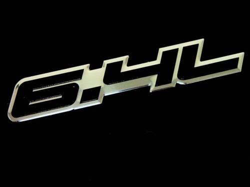 QTY 2 FENDER HOOD TRUNK CAR 6.4L V8 ENGINE ALUMINUM EMBLEMS BADGE SET PAIR BLACK
