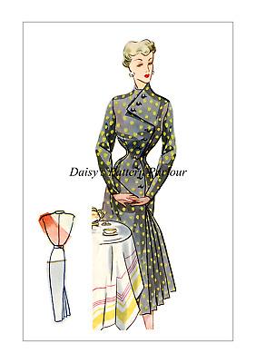 Vintage 1950 Dress Drape Skirt Sewing Pattern Button Eclair Coupe Paris Daisys