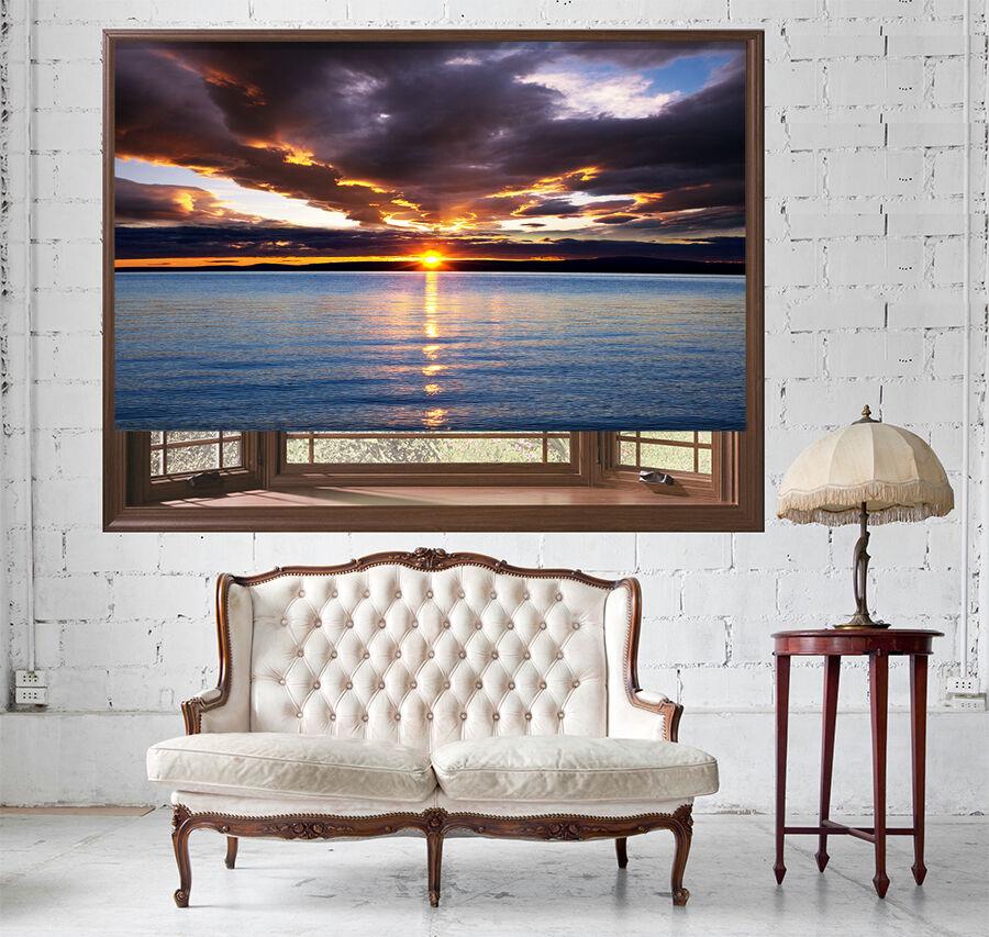 Sunset mar nubes ver imagen fotográfica Océano Persiana enrollable apagón y estándar