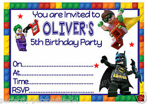 picture relating to Batman Birthday Invitations Printable Free identified as Information around Individualized LEGO BATMAN Birthday Get together Invites or THANK Your self playing cards x 10