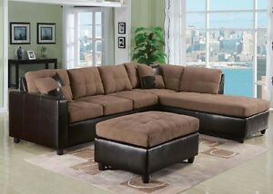 Image Is Loading Milano Collection Reversible Sectional Sofa  Chaise Espresso PU