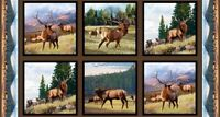 North American Wildlife Elk In The Wild 24x44 Cotton Fabric Panel