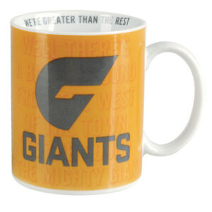 Greater Western Giants AFL Coffee Mug with Team Song 330ml Christmas Gift