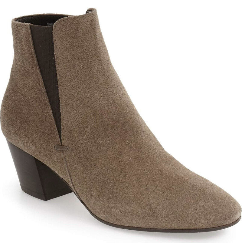NEW Aquatalia Faylynn Weatherproof Taupe Suede/Elastic Ankle Bootie Boots US 12