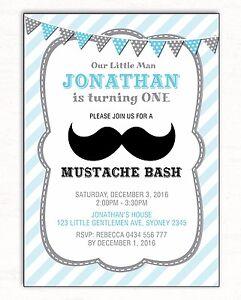 Moustache Birthday Invitation Mustache Party Bash Baby Blue Little