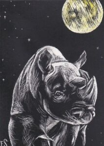 Rhino Rhinoceros Art Animal Moon ACEO Black White