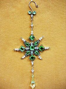 Lime-Green-Jeweled-SNOW-FLAKE-Christmas-Ornament-Decoration-Square-Facet-Gem-10-034