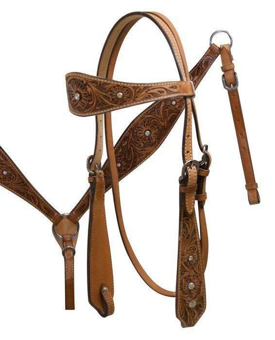 Floral Tooled Leather Western Bridle & Breastcollar & Reins w  Clear Rhinestones