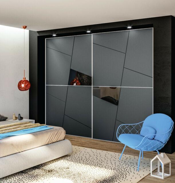 E moderna lucida armadio scorrevole superficie laterale con lunghi lampada trattamento opaca con,Black-208cm