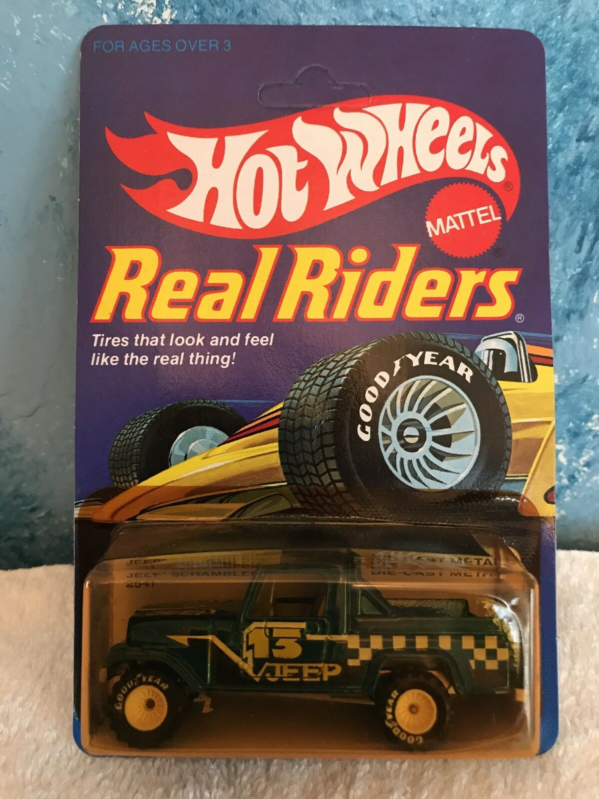 Vintage Hot Wheels Real Riders - Jeep Scrambler - bluee - White Hubs UNPUNCHED
