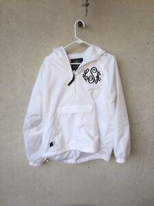 New-Small-White-Monogrammed-Charles-River-Apparel-Rain-Jacket-Coat-Lks-Lsk-Ksl